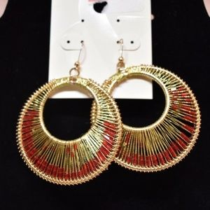 Style & Co. Red Bead Gysy Wire Hoop Earring